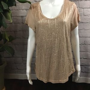 🍓 SALE! 3/$15 Pink & gold sequined XL tee top